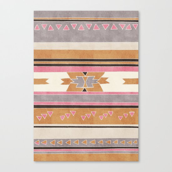 Rustic Tribal Pattern in Raw Sienna, Strawberry and Ash Canvas Print