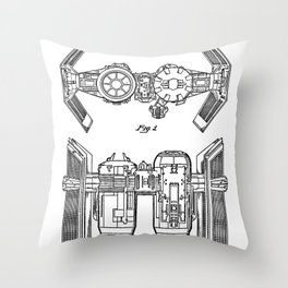 Starwars Tie Bomber Patent - Tie Bomber Art - Black And White Throw Pillow