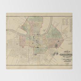 Map of Nashville 1877 Throw Blanket