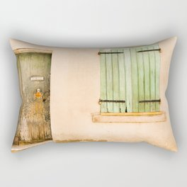 Green wooden door and shuttered window Rectangular Pillow