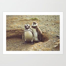 Penguin with chick Art Print