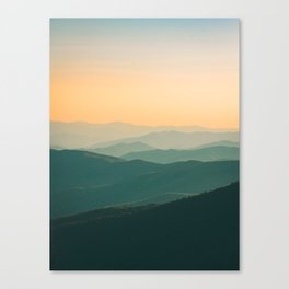 Landscape Photography Teal Turquoise Green Parallax Mountains Hills Orange Sunset Sky Minimalist Pho Canvas Print