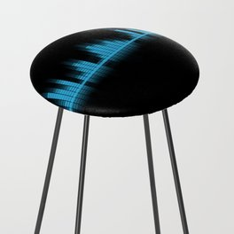 Cool Blue Graphic Equalizer Music on black Counter Stool