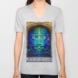 Painted Lion Mural City Doorway Photograph Unisex V-Neck