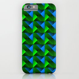 Pyramids of bright light blue. squares and triangles in blue. iPhone Case