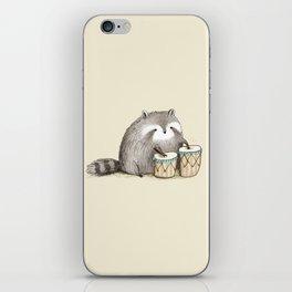 Raccoon on Bongos iPhone Skin