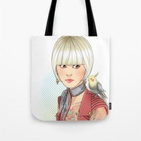 birdy Tote Bags featuring Birdy by Lotty