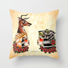 Yaqui deer and wolf Throw Pillow