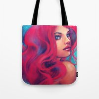 alicexz Tote Bags featuring Daughter of Triton by Alice X. Zhang