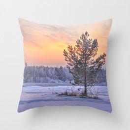 Frosty Evening Throw Pillow