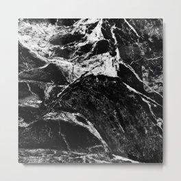 Marble Black Metal Print