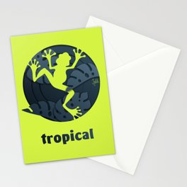 Tropical Frog Papercut Design Stationery Cards