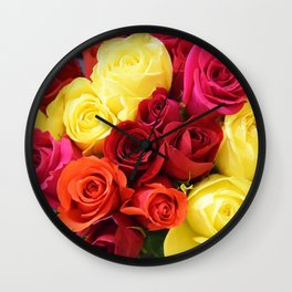 Colorful Roses II Wall Clock