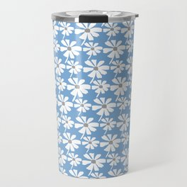 Daisies In The Summer Breeze - Blue Grey White Travel Mug