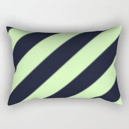 Black and Green Diagonal Stripes Rectangular Pillow