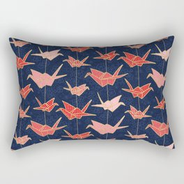 Red origami cranes on navy blue Rectangular Pillow