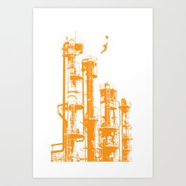 Factory Jump (orange) Art Print