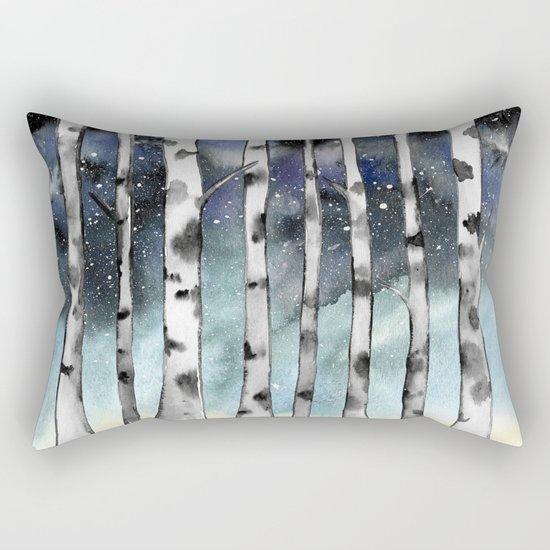 Birch Shadows In Winter Rectangular Pillow