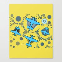 airplanes Canvas Prints featuring blue airplanes by Isabella Asratyan