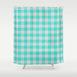 Turquoise Buffalo Plaid Shower Curtain