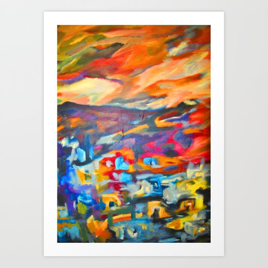 My Village | Colorful Small Mountainy Village Art Print