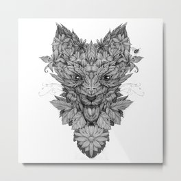 Floreal fox Metal Print
