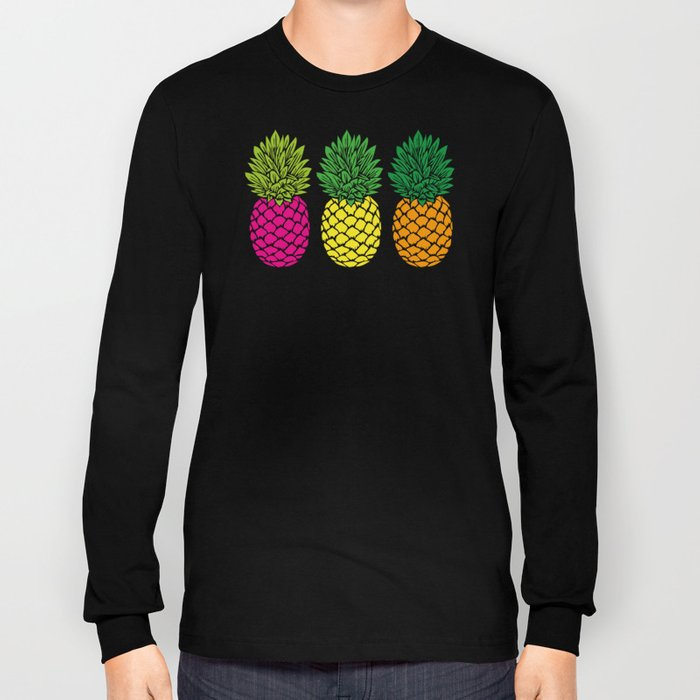 Pineapple Trio | Three Pineapples | Pineapple Silhouettes | Hot Pink | Yellow | Orange | Long Sleeve T-shirt