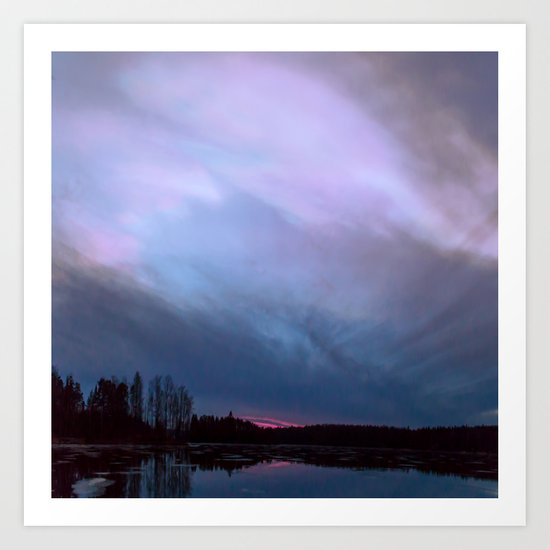 Sunset in winter evening Art Print