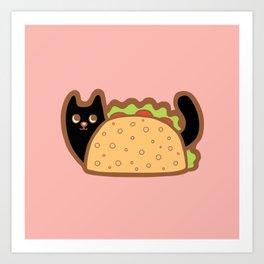 Taco Cat Black Art Print