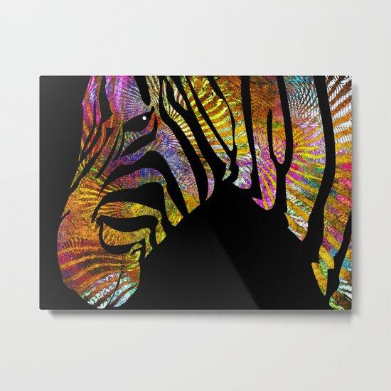 Zebra in Celebrating Dress Metal Print