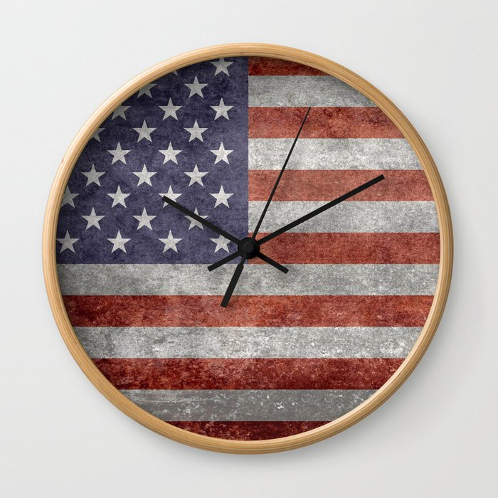 Flag of the United States of America in Retro Grunge Wall Clock