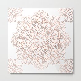 Mandala Rose Gold Pink Shimmer by Nature Magick Metal Print