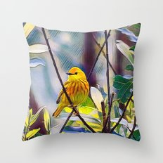 Sweet Yellow Warbler Throw Pillow