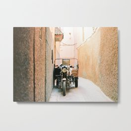 Vintage retro scooter / moped in the streets of magical Marrakech Metal Print