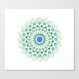 Dotty Mandala Green Canvas Print