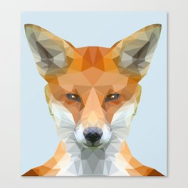 Low poly fox on blue/grey background Canvas Print