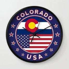 Colorado, Colorado t-shirt, Colorado sticker, circle, Colorado flag, white bg Wall Clock