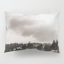 Retro Vintage Desaturated Northern Snow Covered Mountain Landscape Colored Print Pillow Sham