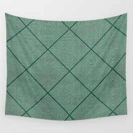 Stitched Diamond Geo Grid in Green Wall Tapestry