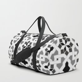 black and white -  Oriental design - orient  pattern - arabic style geometric mosaic Duffle Bag