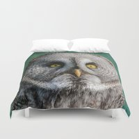 justin timberlake Duvet Covers featuring GREY OWL by Catspaws