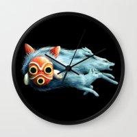 princess mononoke Wall Clocks featuring Princess Mononoke by Lara Frizzell