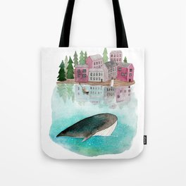 A whale is passing by Tote Bag
