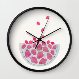 Magic Strawberries in the Bowl Wall Clock