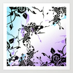 Punkoco Floral Blues Art Print
