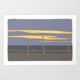 Beach volleyball poles Art Print