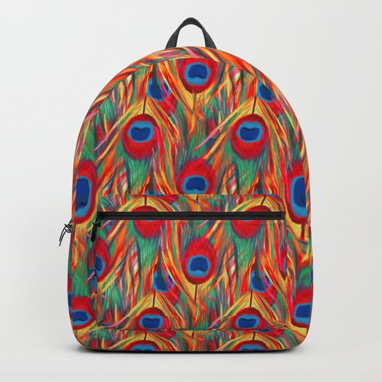 Beautiful Summery Peacock Feathers Pattern Backpack