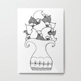 Amphora - White Black Metal Print