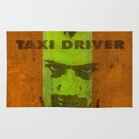 taxi driver Area & Throw Rugs featuring Taxi Driver by Ganech joe