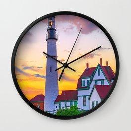 Portland Head Lighthouse Sunrise Print Wall Clock
